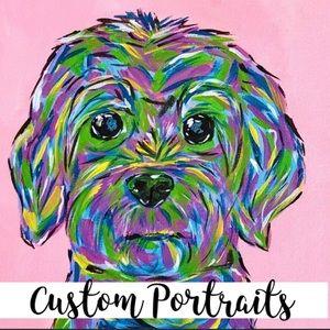 6x6 Custom Lilly style dog cat portrait art gift